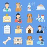 Insieme dell'icona del riparo degli animali domestici illustrazione di stock