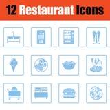 Insieme dell'icona del ristorante Fotografia Stock