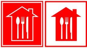 Insieme dell'icona del ristorante con la casa e l'utensile illustrazione vettoriale