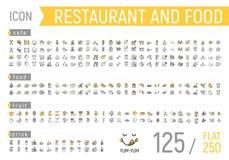 Insieme dell'icona del ristorante e dell'alimento Piano e lineare illustrazione di stock