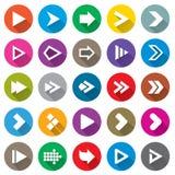 Insieme dell'icona del segno della freccia. Bottoni semplici di forma del cerchio. Immagini Stock Libere da Diritti