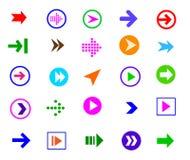 Insieme dell'icona del segno della freccia del bottone Fotografie Stock Libere da Diritti