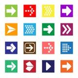 Insieme dell'icona del segno della freccia isolato su fondo bianco royalty illustrazione gratis