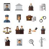 Insieme dell'icona del sistema giudiziario Fotografia Stock