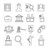 Insieme dell'icona del sistema giudiziario Immagine Stock Libera da Diritti