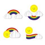 Insieme dell'icona del sole dell'arcobaleno della nuvola del sole isolata su fondo bianco, Fotografia Stock Libera da Diritti