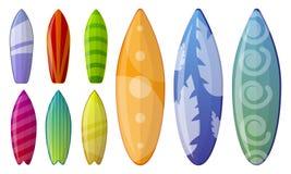 Insieme dell'icona del surf, stile del fumetto illustrazione di stock