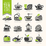 Insieme dell'icona del tè Fotografia Stock