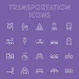 Insieme dell'icona del trasporto Fotografia Stock