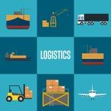 Insieme dell'icona del trasporto del trasporto e di logistica Immagini Stock