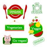 Insieme dell'icona del Vegan Immagini Stock