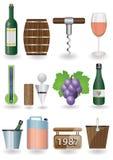 Insieme dell'icona del vino Fotografia Stock