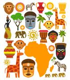 Insieme dell'icona dell'Africa di vettore Fotografie Stock Libere da Diritti