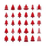 Insieme dell'icona dell'albero di Natale, vettore eps10 Fotografia Stock