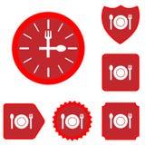 Insieme dell'icona dell'alimento di tempo del pranzo Fotografia Stock Libera da Diritti
