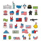 Insieme dell'icona dell'America Segno nazionale di U.S.A. Bandiera americana e statua Fotografia Stock