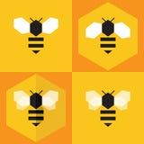 Insieme dell'icona dell'ape Fotografie Stock Libere da Diritti