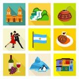 Insieme dell'icona dell'Argentina illustrazione di stock
