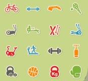 Insieme dell'icona dell'attrezzatura di sport Fotografie Stock