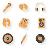 Insieme dell'icona dell'audio attrezzatura Immagini Stock Libere da Diritti