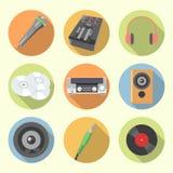 Insieme dell'icona dell'audio attrezzatura Fotografia Stock Libera da Diritti