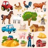 Insieme dell'icona dell'azienda agricola illustrazione vettoriale