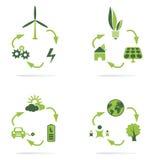 Insieme dell'icona dell'energia pulita Fotografia Stock