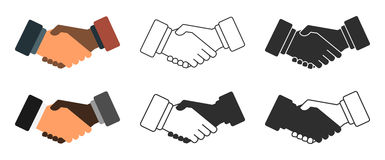 Insieme dell'icona dell'illustrazione della stretta di mano Fotografia Stock Libera da Diritti