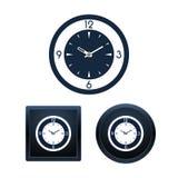 Insieme dell'icona dell'orologio di parete, illustrazioni isolate Fotografie Stock Libere da Diritti