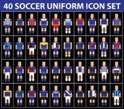 insieme dell'icona dell'uniforme del blu di calcio di calcio 40 Fotografia Stock Libera da Diritti