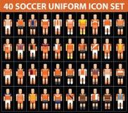 insieme dell'icona dell'uniforme dell'arancia di calcio di calcio 40 Fotografie Stock Libere da Diritti