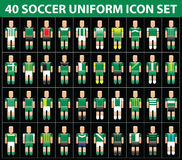 insieme dell'icona dell'uniforme di verde di calcio di calcio 40 Fotografia Stock Libera da Diritti