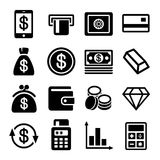 Insieme dell'icona della banca e dei soldi Fotografia Stock