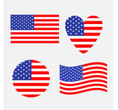 Insieme dell'icona della bandiera americana Ondeggiando, giro, forma del cuore Simbolo felice del segno di festa dell'indipendenz illustrazione vettoriale