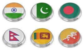 Insieme dell'icona della bandiera di nazione Immagini Stock Libere da Diritti