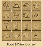 Insieme dell'icona della bevanda e dell'alimento Fotografie Stock Libere da Diritti