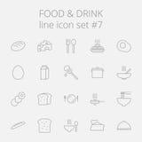 Insieme dell'icona della bevanda e dell'alimento illustrazione di stock