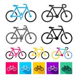 Insieme dell'icona della bicicletta, simbolo di sport Illustrazione di vettore Isolato su priorità bassa bianca Fotografia Stock Libera da Diritti