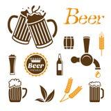 Insieme dell'icona della birra Immagini Stock