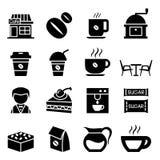 Insieme dell'icona della caffetteria Fotografia Stock