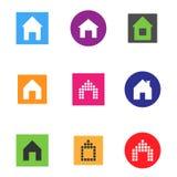 Insieme dell'icona della casa di colore di vettore Fotografie Stock Libere da Diritti