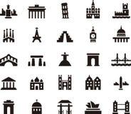 Insieme dell'icona della costruzione e del monumento Fotografie Stock Libere da Diritti