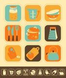 Insieme dell'icona della cucina Immagine Stock