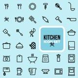 Insieme dell'icona della cucina Fotografia Stock