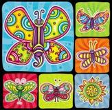 Insieme dell'icona della farfalla. illustrazione di stock