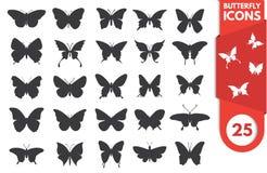Insieme dell'icona della farfalla Fotografia Stock