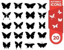 Insieme dell'icona della farfalla Immagini Stock Libere da Diritti
