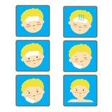 Insieme dell'icona della febbre del bambino Fotografia Stock Libera da Diritti
