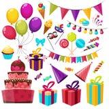 Insieme dell'icona della festa di compleanno illustrazione di stock