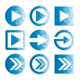 Insieme dell'icona della freccia del pixel Fotografia Stock